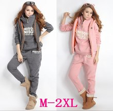 Wholesale 2015 sports sweatshirt tracksuit women's sets 3 pieces hooded fleece thick sweatshirt plus size M-XXL S5301(China (Mainland))