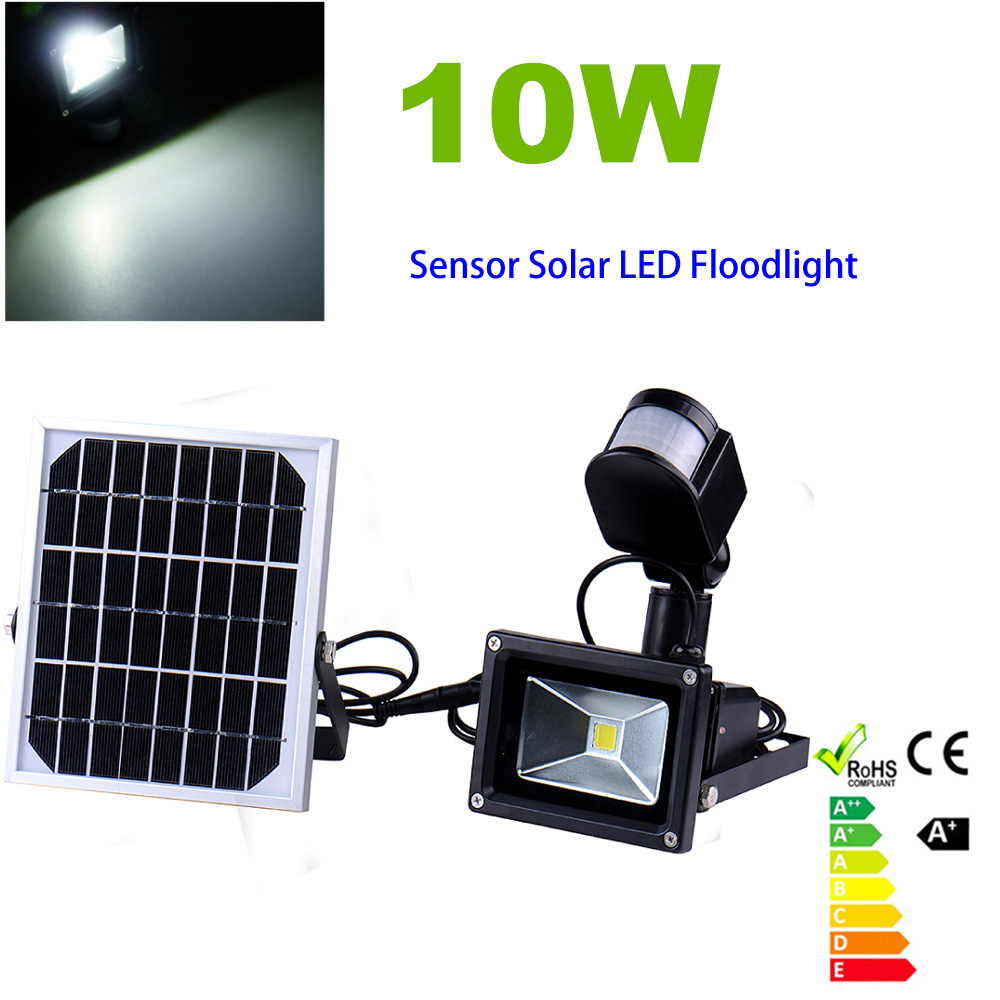 Solar Lamps 10W 60LEDS chip LED Lights CoolWhite light Outdoor Solar Led Flood lights Soar Garden Lamps with PIR Motion Sensor(China (Mainland))