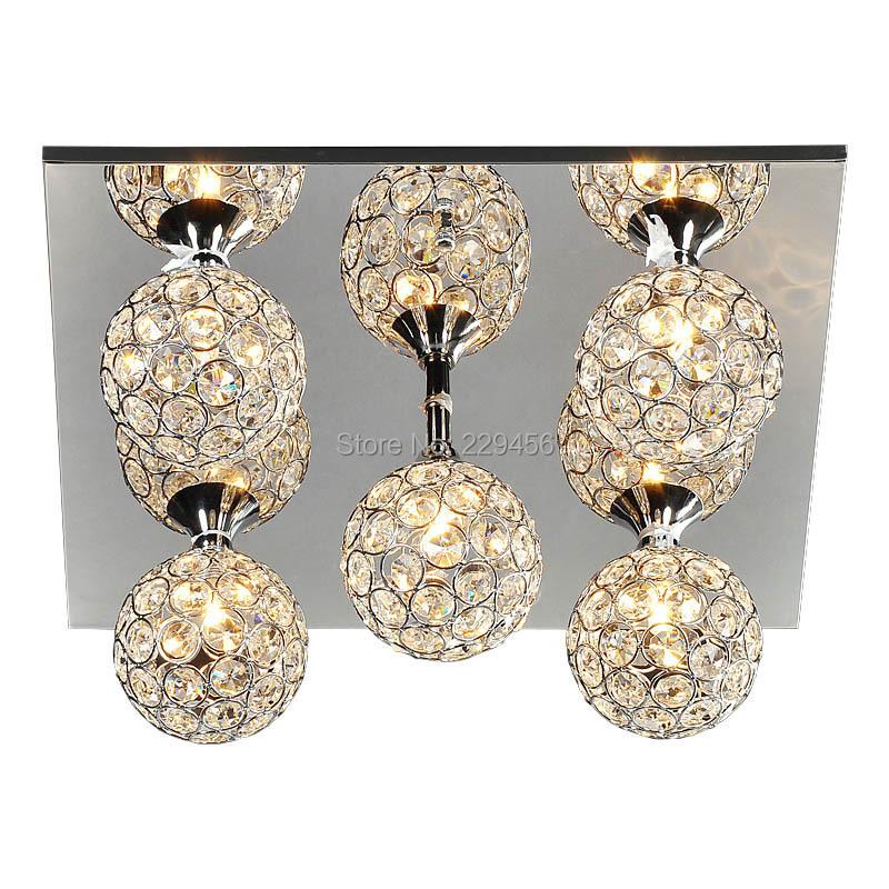 Rectangular Modern K9 Crystal Ceiling Light Lampshade Decoration Home Luminaire 5 Balls G9 220V(China (Mainland))