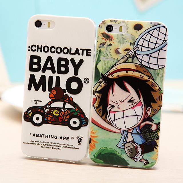 For iphone5 5s The cartoon one piece embossment mobile soft shell Tide whitebox handset cases(China (Mainland))