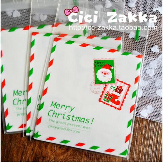 200pcs/lot cookie plastic bags Christmas messenger 10x11cm cupcake packaging free shipping free shipping(China (Mainland))