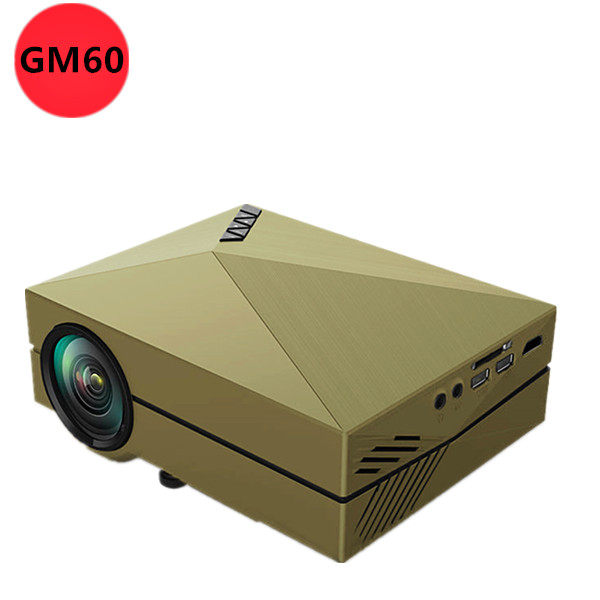 2016 gm60 mini led beamer support korean gold color for Portable movie projector