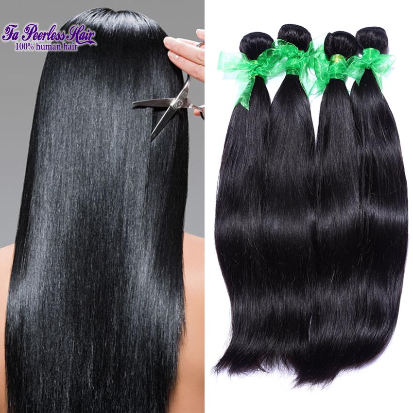 Malaysian Straight Hair 4 Bundles 6A Unprocessed Virgin Malaysian Straight Hair Bundles Perucas Baratas Natural Black Haarteil<br><br>Aliexpress