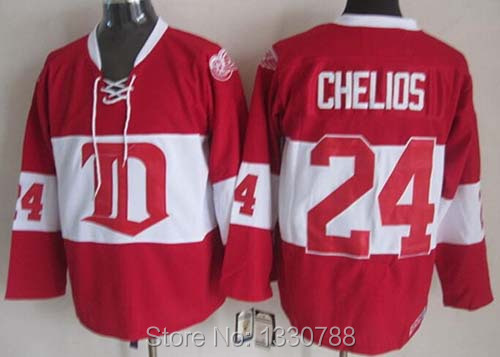 Cheap 2015 Detroit Red Wings #24 Chris Chelios Jersey 2014 Red Winter Classic Alumni Stitched CCM Vintage Ice Hockey Jerseys Men(China (Mainland))