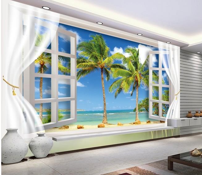 non woven wallpaper scenery outside window wall mural
