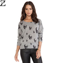 High Quality Summer Style Women Sweater 2016 Pullover Casual O-Neck Full Sleeve Skull Print Cool Sweaters (China (Mainland))