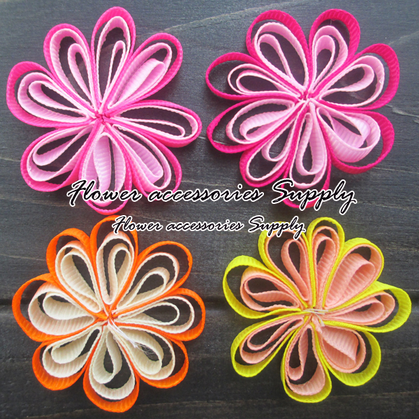 EMS free shipping!wholesale1200pcs/lot,High quality baby grosgrain ribbon flowers,boutique flower for girl headbands,accessories