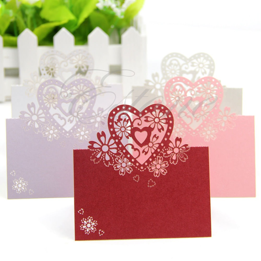 Free shiping 50pcs Love Heart Laser Cut Wedding Party Table Name Place Cards Favor Decor(China (Mainland))