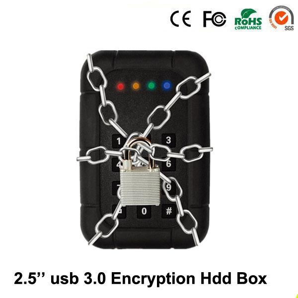 """Aluminum 2.5"""" USB 3.0 to Keypad Hardware Encryption SATA3 external hard disk hdd dock cases HDD box Enclosure free shipping(China (Mainland))"""