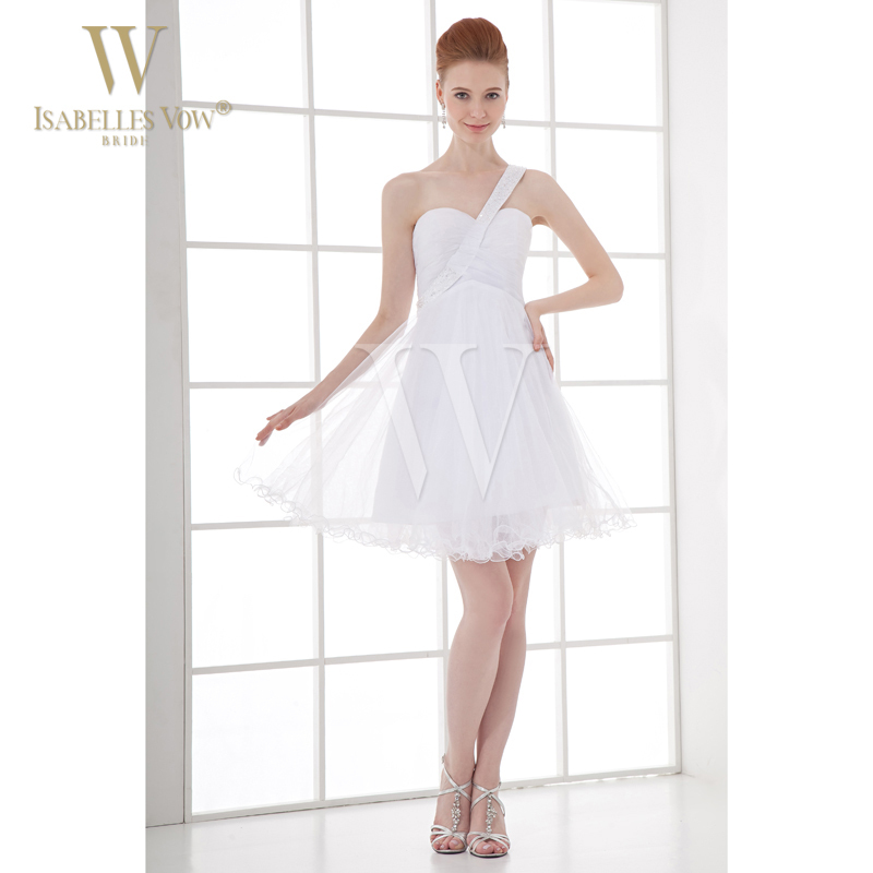 Fashion new lady summer dress bridesmaid dress white short for Short white summer wedding dresses