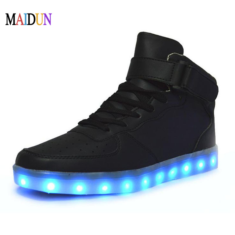 High top led shoes men neon black lady casual boots male flat neon basket led shoes tenis led light up lace unisex hot fashion(China (Mainland))