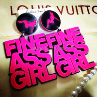 """New Fashion Earrings for Women Big Neon Drop Earring """"FINE ASS GIRL"""" Hiphop Jewelry Acrylic Pink Black Club Necessary"""