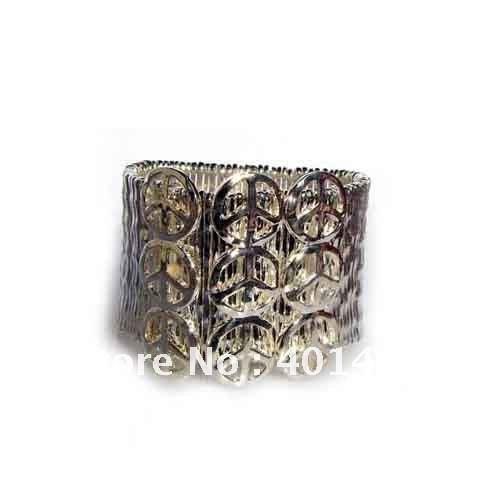 Free shipping fashion metal silver peace charm stretch bracelet jewelry<br><br>Aliexpress