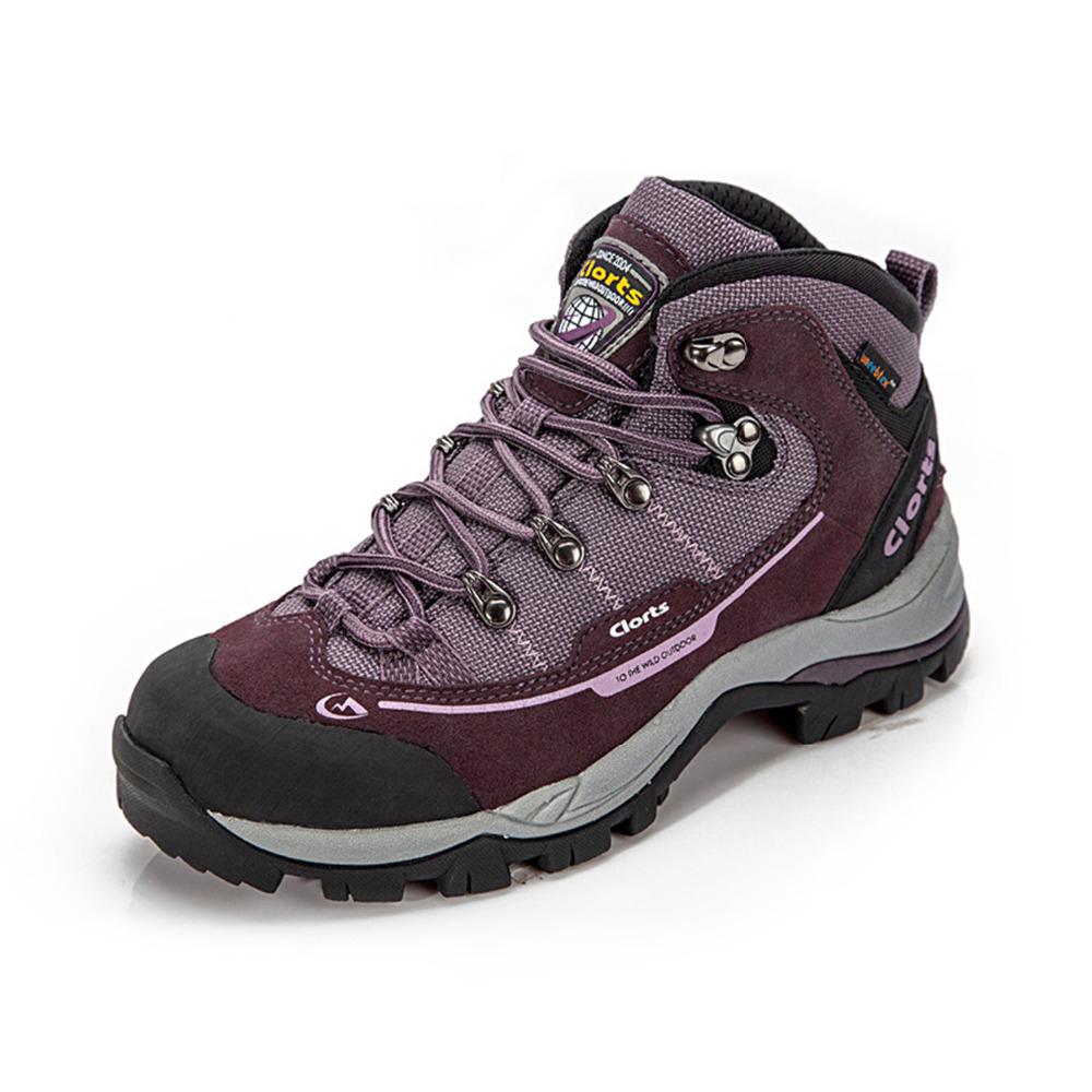 2015 Clorts Fashion Hiking Shoes Waterproof Outdoor Mountain Climbing Hunting Boots For Women Purple Free Shipping HKM-303B(China (Mainland))