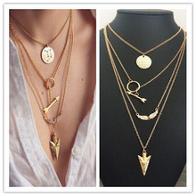 New Fashion accessories jewelry arrow multi layer necklace gold color  gift for women girl wholesale N1684