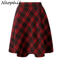 Neophil 2016 Winter High Waist Wool Plain Grey Red Plaid School Pleated Midi Skirts Womens England