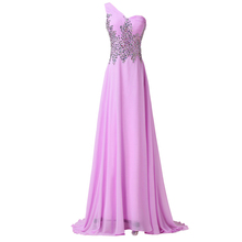 Elegant Fashion Women Summer Full Length One Shoulder Beads Bandage Prom dresses Chiffon evening Party Gown Long dress CL4506(China (Mainland))