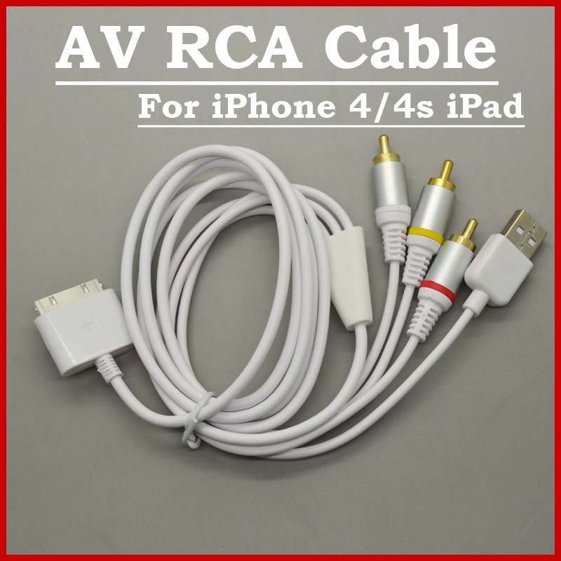 3 IN 1 TV RCA Video Composite AV Cable +USB Cables For iPhone 3G 3GS 4 4S iPad 2/3/4(China (Mainland))
