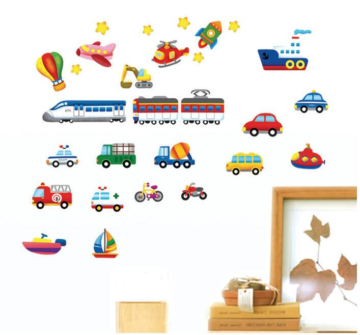 Boy room decoration train balloon ship wall sticker home decor removable cars pattern wall decal(China (Mainland))