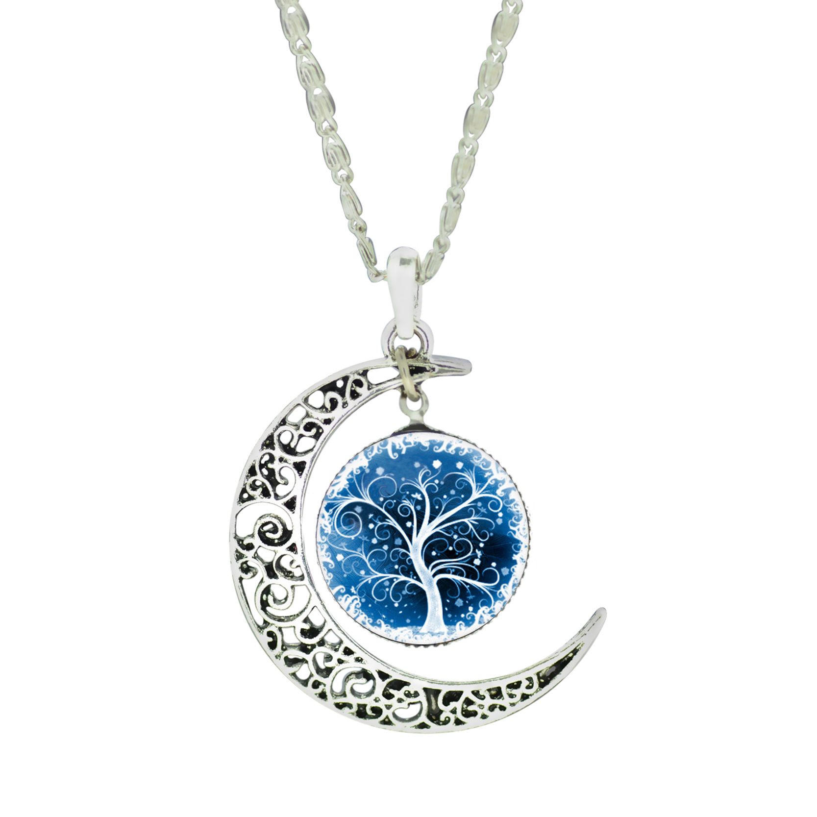 18pcs/lot Wholesale Fashion Cat Life Tree Glass Cabochon NecklaceJ ewelry Vintage Silver Color Moon Necklace for Women(China (Mainland))