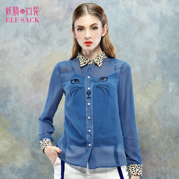 Elf SACK famous brand fashion women hot summer girls pattern embroidery twinset chiffon shirt with a vest casual free shipping