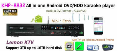 8832(#1) Full HD DVD/HDD Lemon KTV karaoke player ,Support MKV/VOB/DAT/AVI/MPG songs ,build-in AGC/AVC ,Multilingual MENU(China (Mainland))