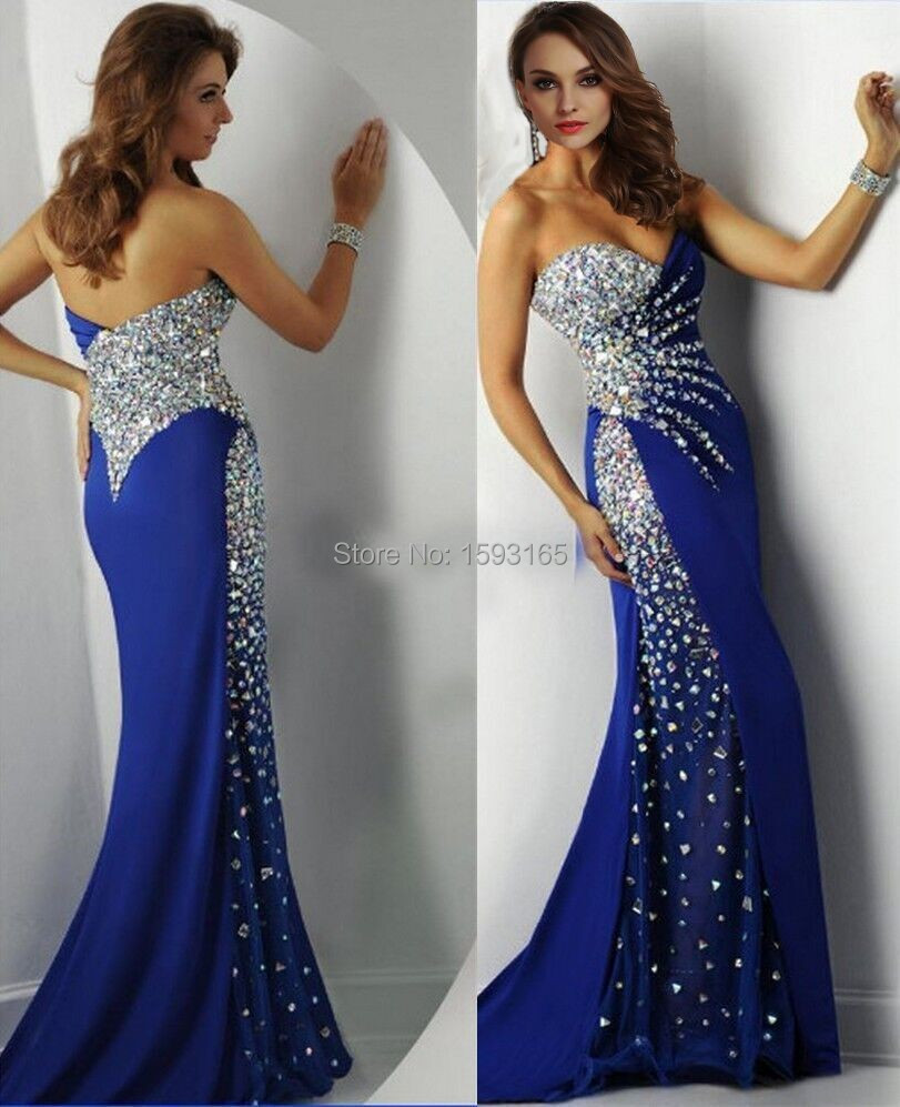 Images of Long Royal Blue Prom Dresses - Reikian