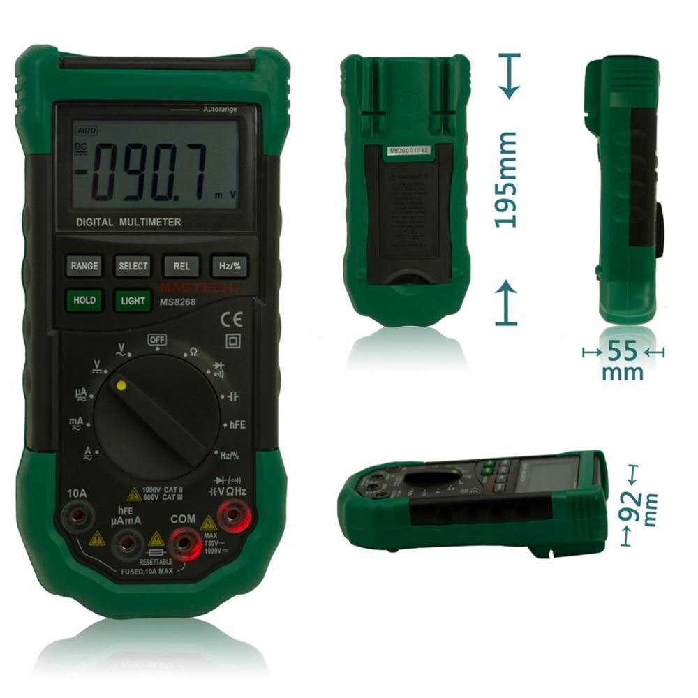 Mastech MS8268 Digital Multimeter Auto/Manual Range AC DC V A Sound Light Alarm<br><br>Aliexpress