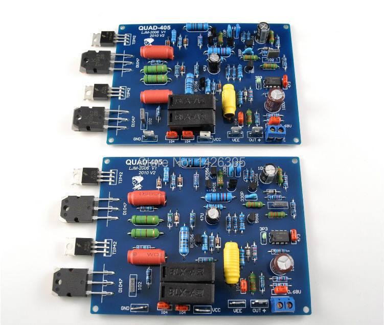 2pcs Assembled QUAD405 mono Audio Power Amplifier Board DC +/- 40V to +/- 50V (3A)(China (Mainland))