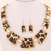 2015 Jewellery Sets Fashion Popular Elegant Punk Geometric Leopard Link Chain Necklace Earring Sets Fashion Women Accessories