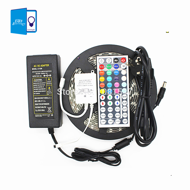 Discount 12V 5050 RGB LED Strip Light 60LEDs/M 5M/Roll Waterproof + 44Keys IR Controller+5A 60W Adapter Power Free Shipping(China (Mainland))