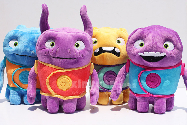 4pcs lot Dreamworks Home OH Plush Toys Super Amazing Aliens Tip Mascot Captain Boov Stuffed Toy Doll Gift Dream For Kids 18cm(China (Mainland))