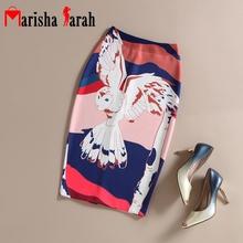 Summer Autumn Navy Style Fashion Printed Pencil Skirt Midi Women Knee-Length Elastic High Waist Ladies SEA-GULL Pattern Skirts