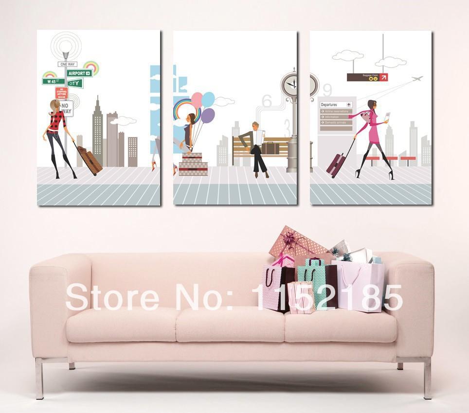Multi modern ladies still life 3 panel wall art on canvas painting for living room home jpg