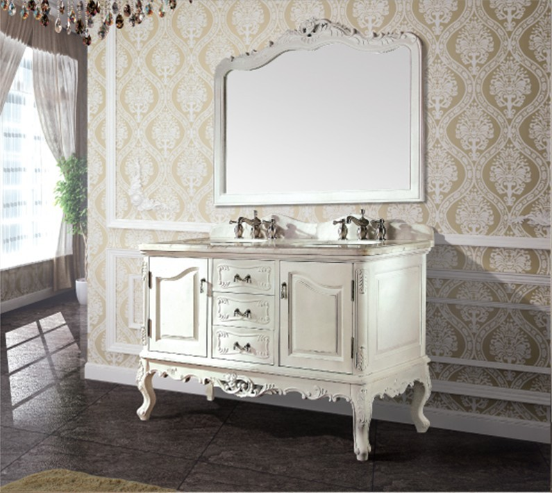 High quality antique bathroom cabinet with mirror and sink classic bathroom vanity bathroom furniture(China (Mainland))