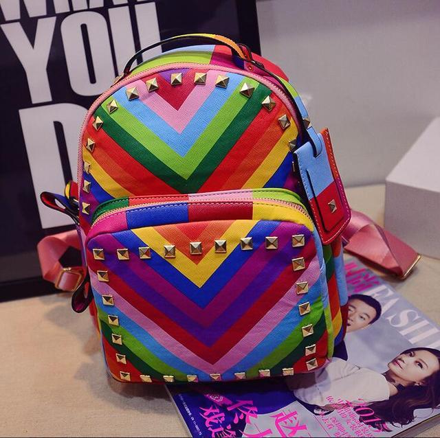 2016 женщин камуфляж заклепки шпильки рюкзак школьный портфель сумки на ремне книга сумка m1