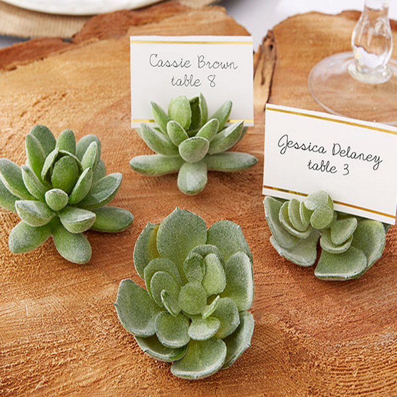 100pcs/Lot+Natural Design Green Succulent Place Card Holders/Table Number Holder Wedding&Bridal Shower Favors+FREE SHIPPING