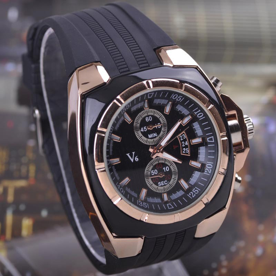 Hot Sale Vogue V6 Strips Hour Marks Round Dial Quartz Watch Men Fashion Hours Silicone Sport Wrist Watch Relogio Masculino(China (Mainland))