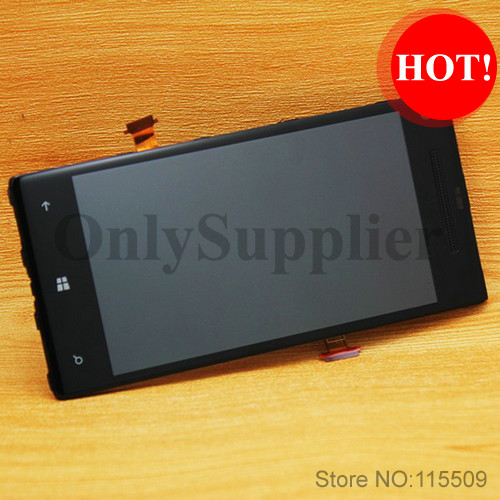 Black color 100% original lcd display For HTC 8X LCD touch screen with digitizer Assembly + Frame Free shipping!
