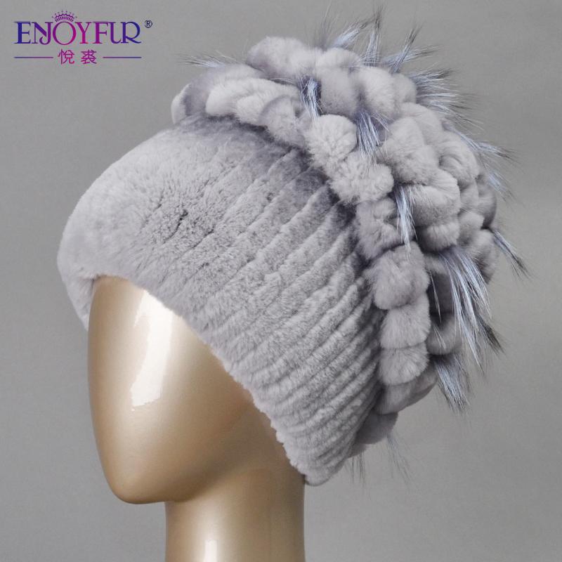 Гаджет  Winter fur hat for women real rex rabbit fur hat with silver fox fur flower knitted beanie 2015 new sale high-end women fur cap None Одежда и аксессуары