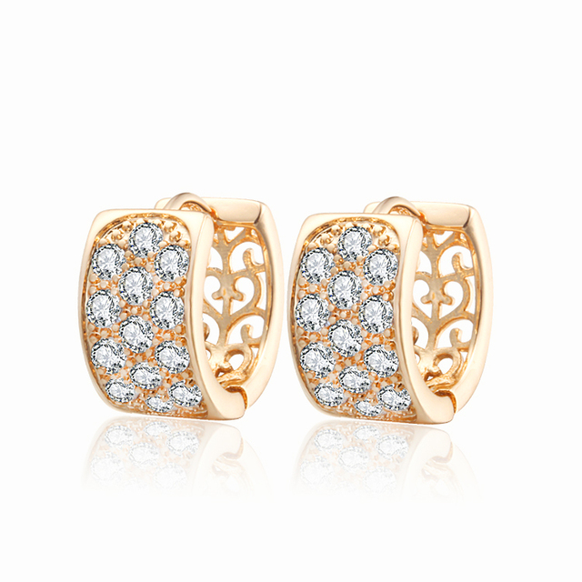 18K Gold Plated Hoop Huggie Earrings For Women Stone Crystal CC Earings Brincos Fashion Jewelry Free shipping 20E18K-33