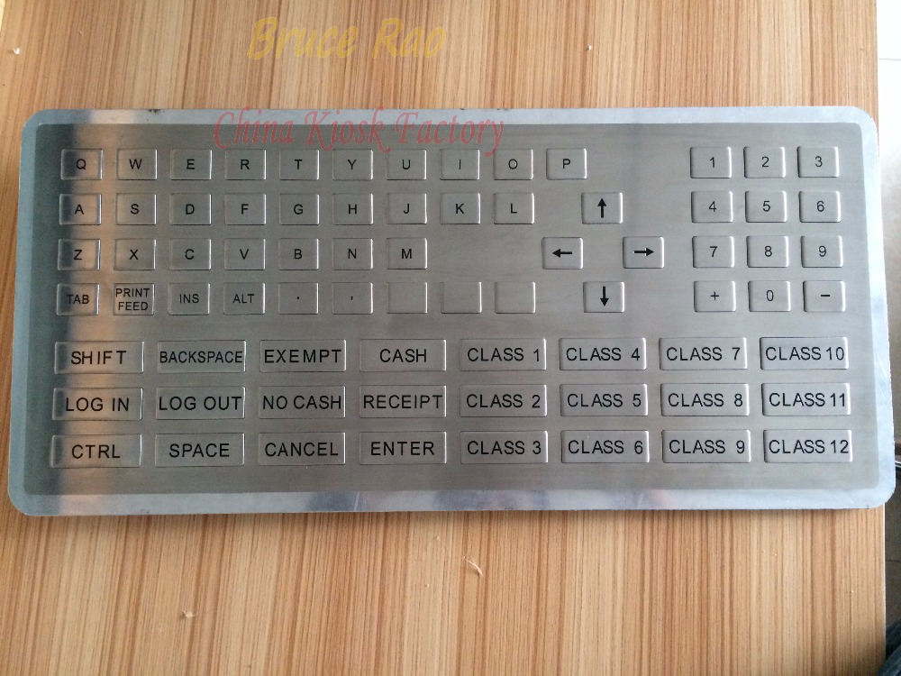 Custom 76 keys big size ATM keypad keycap shape button stainless steel panel mount industrial keyboard for toll station(China (Mainland))
