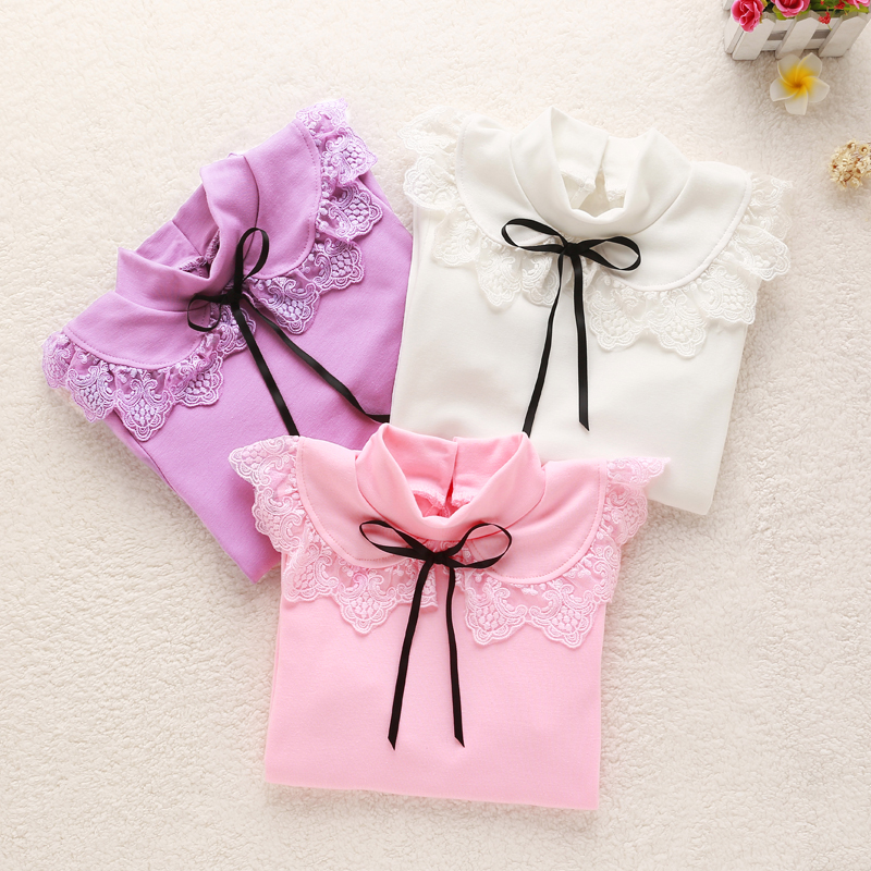 girls blouse 2016 Autumn kids clothes children clothing cotton child shirt long sleeve shirt girls clothes 3 colors age 3-15Y(China (Mainland))