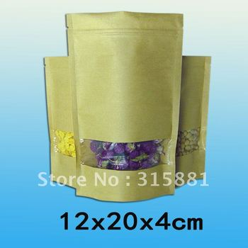 Standup kraft paper bag with window and zipper for food  12x20x4cm