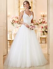 2017 New Fashion Detachable Train Lace A Line Wedding Dresses Spaghetti Straps See Through Back Tulle Vestido De Novia(China (Mainland))