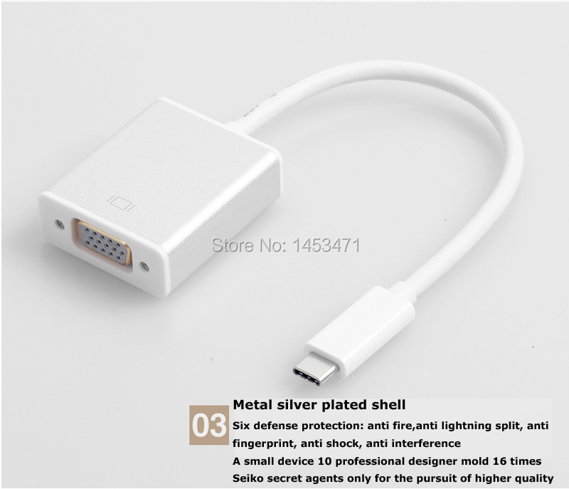 Revofree USB 3.1 connection cable line and macbook 12 inch type-C to VGA projector video converter adapter
