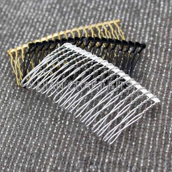 set of 30pcs Metal hair comb fascinator supply 3 inch long mixed colors silver gold black DIY millinery, bridal birdcage veilОдежда и ак�е��уары<br><br><br>Aliexpress