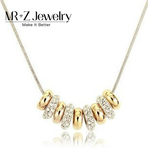 Promotion Discounts REAL 18K Gold Plated Nine 9 Circles Necklace Crystal Fashion Jewelry Free Shipping(China (Mainland))