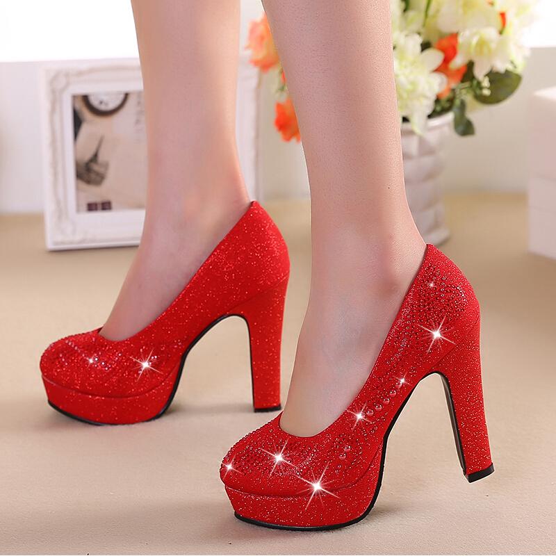 Sapatos de casamento da noiva verão vermelho de salto alto estilo chinês sapatos vermelhos casados sapatos de noiva de ouro sapatos de dama de honra