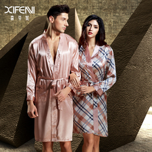 XIFENNI Brand Couple Bathrobes 2016 Top Quality Imitation Silk Women Robe Long-Sleeved Male Robes Lovers Sleepwear Free Shipping(China (Mainland))